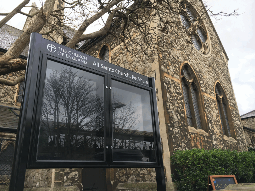 church noticeboard black aluminium prestige