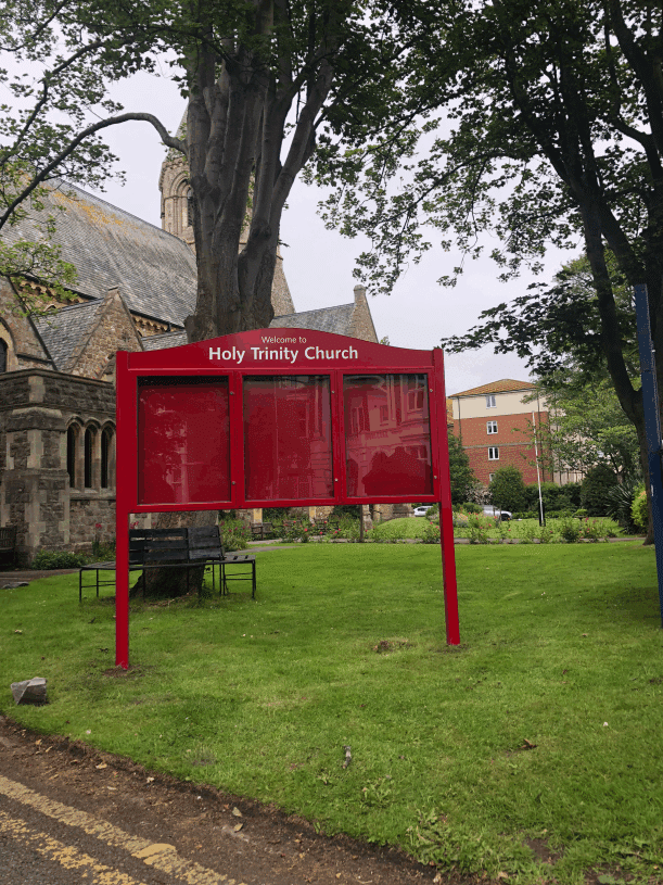 church noticeboard maroon aluminium prestige