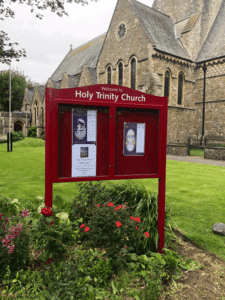 church notice board red aluminium prestige