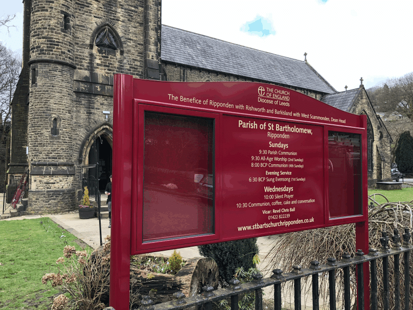 church noticeboard maroon aluminium prestige