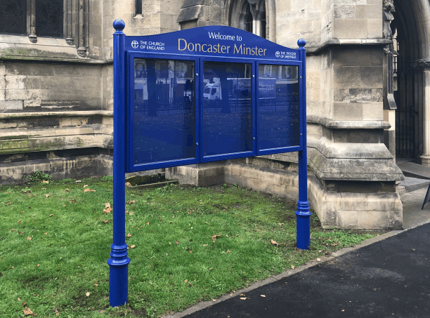church noticeboard blue aluminium prestige