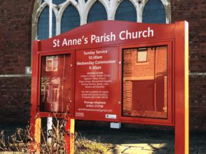 church noticeboard red aluminium prestige
