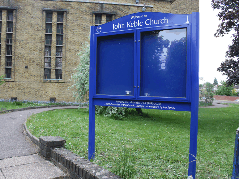 church noticeboard blue aluminium prestige