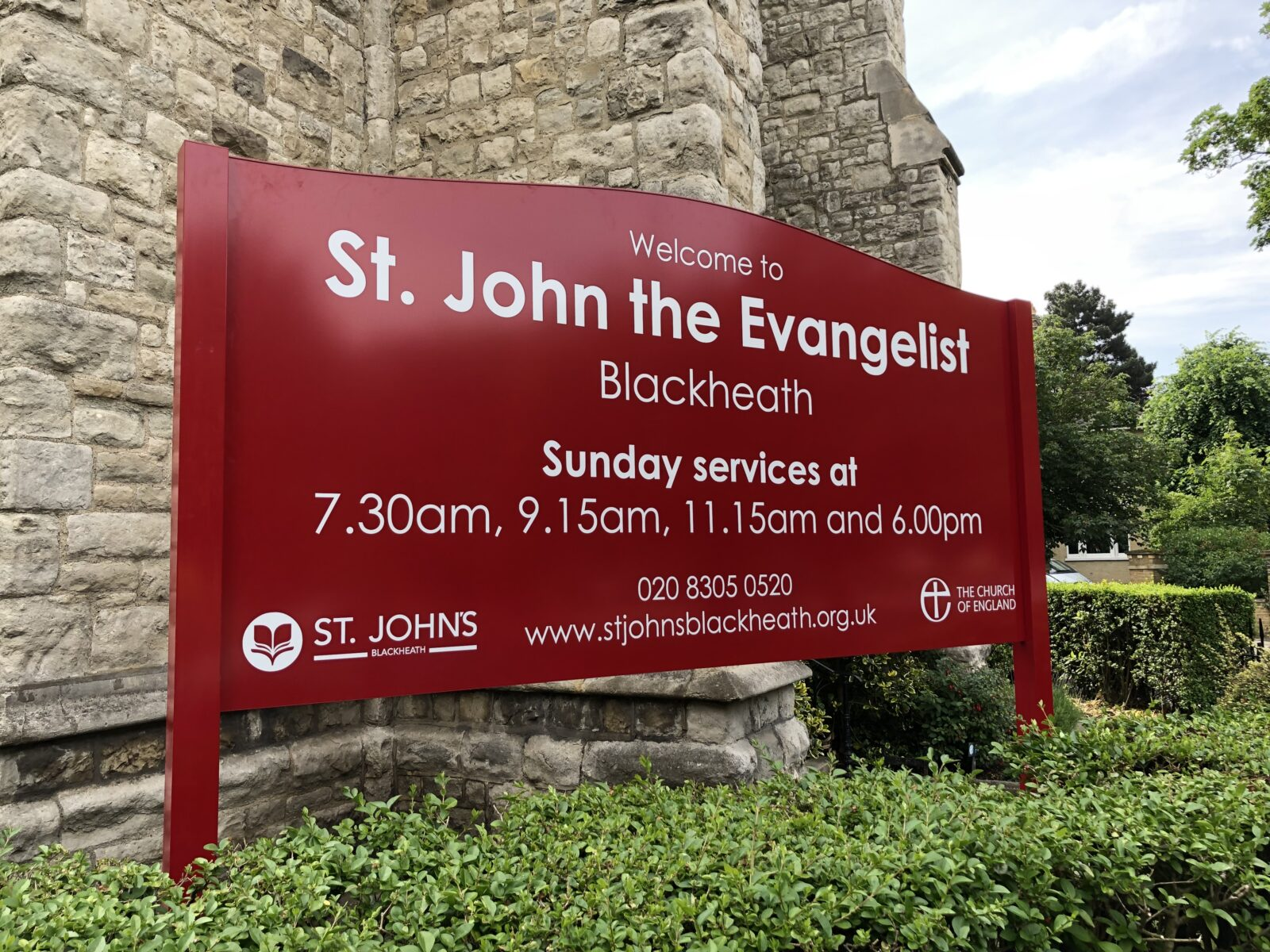 church notice board red aluminium