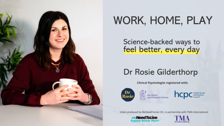 MyNeedToLive and Dr Rosie launch Work, Home, Play
