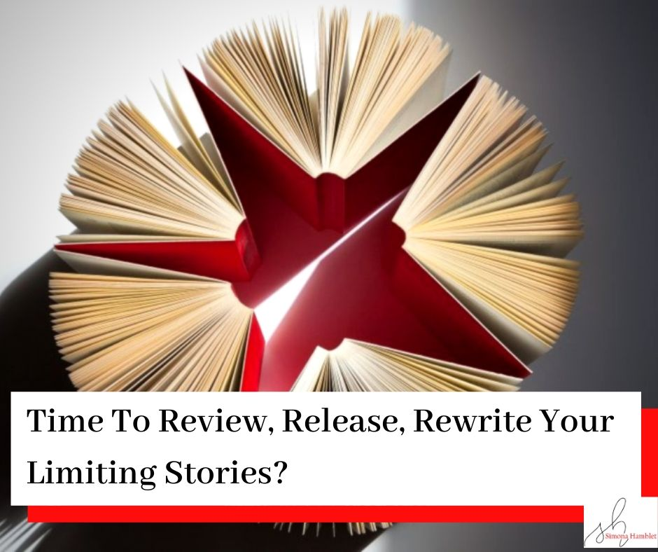 Four red cover books on their age with the pages spilling out into a circle from a view of above with the title Time To Review, Release, Rewrite Your Limiting Stories?