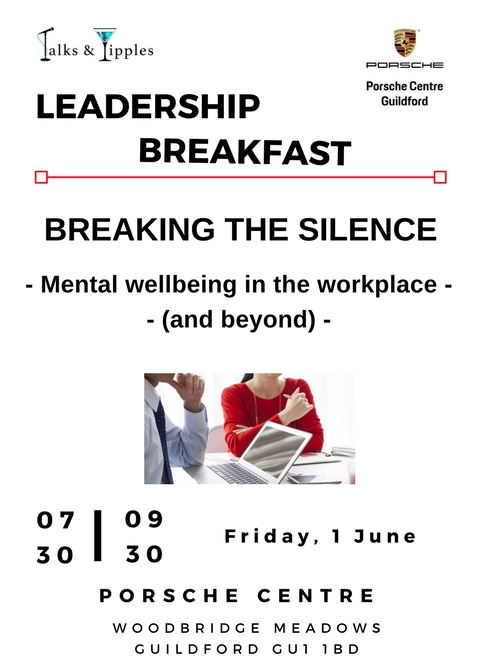 Flyer of Leadership Breakfast talk in Guildford on Mental Health in the Workplace