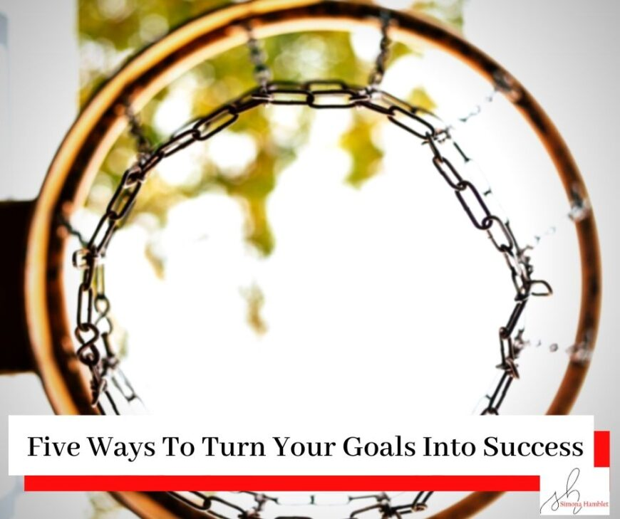A basket ball or netball hoop with the title Five Ways To Turn Your Goals Into Success