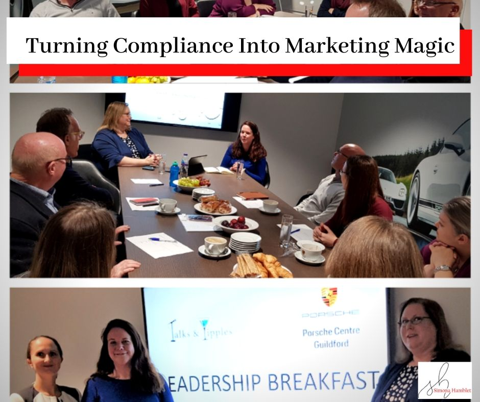 Photo of Simona Hamblet, Victoria Simpson, and Anne Renshaw at a leadership event with the titleTurning Compliance Into Marketing Magic!