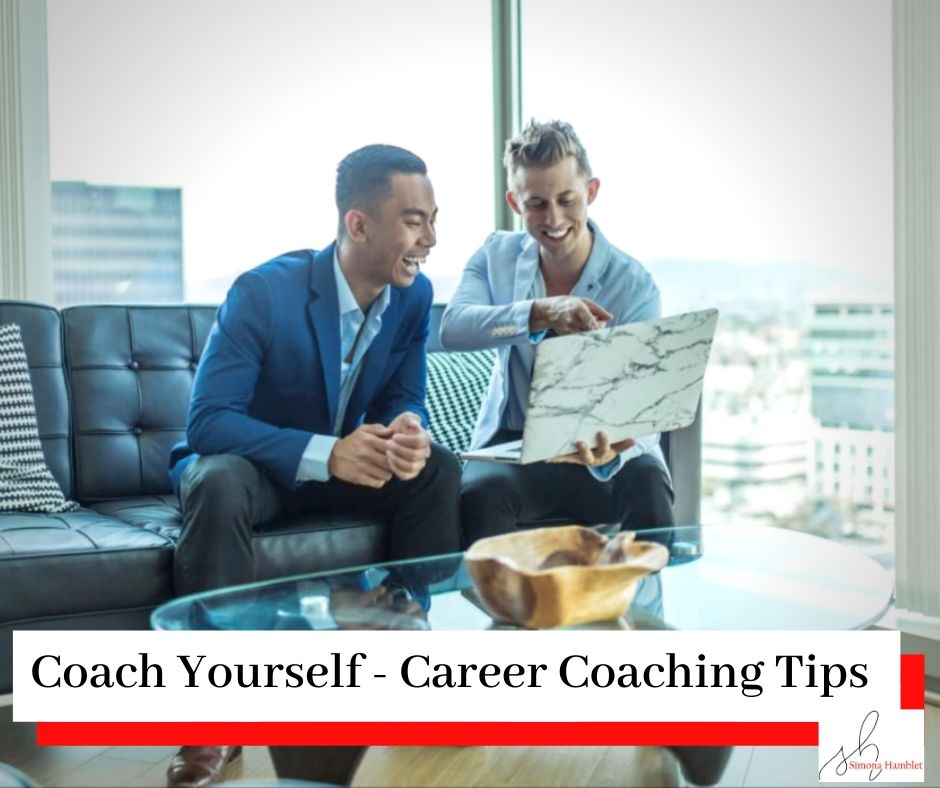 Female and male sat on a sofa talking over a laptop in a work environment with a title Coach Yourself - Career Coaching Tips
