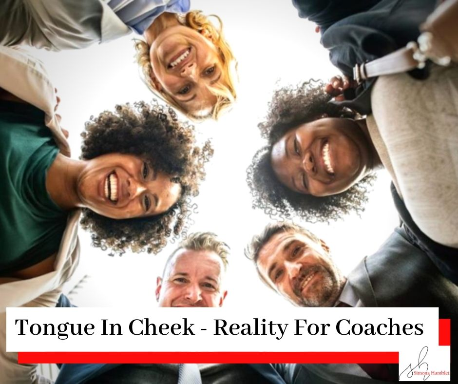 A group of women and men in suits look down at the camera in a circle with the title The Joy (Or Reality) Of Becoming A Coach