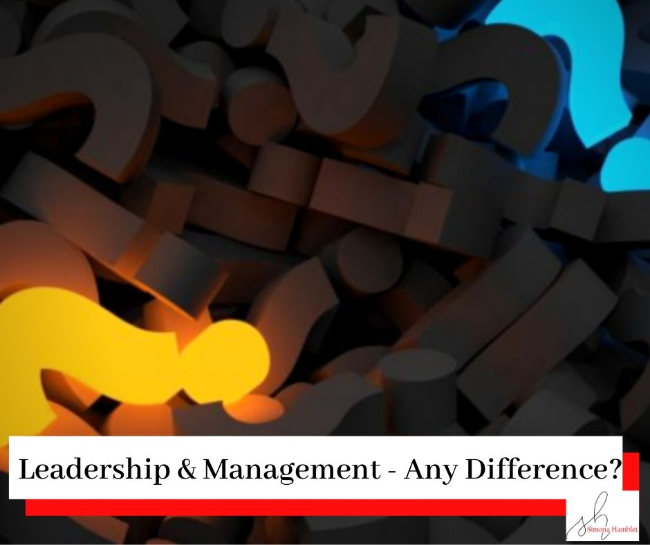 Picture of question marks with blue and yellow ones lit up with the title Leadership & Management - Is There A Difference?