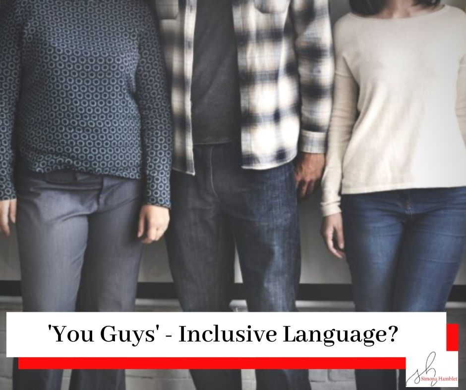 Picture of a group of women and men, with the title You Guys - Inclusive Language?