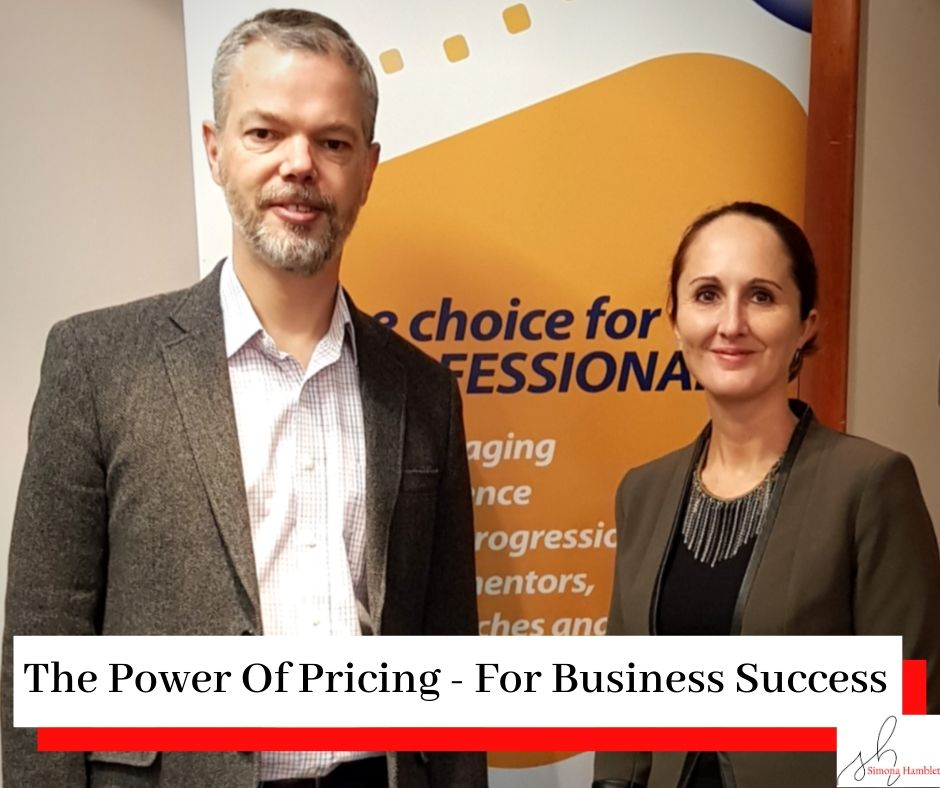 Mark Peacock and Simona Hamblet in front of an EMCC banner with the title The Power Of Pricing - For Business Success