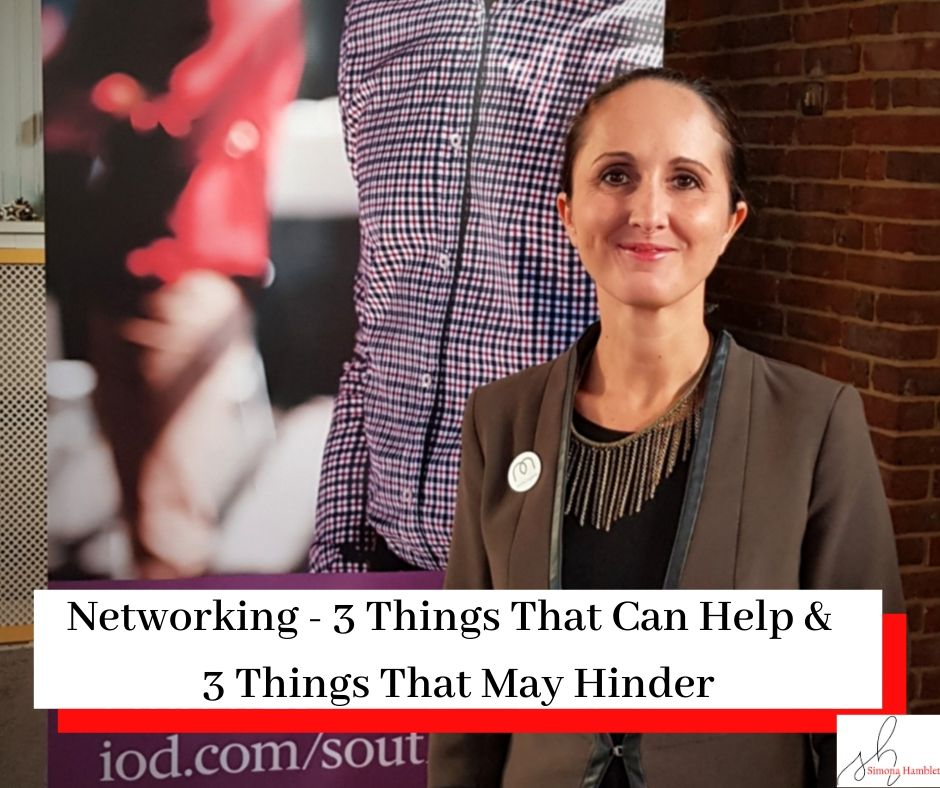 Photo of Simona Hamblet at an IOD Networking Event with the title Networking - 3 Things That Can Help & 3 Things That May Hinder
