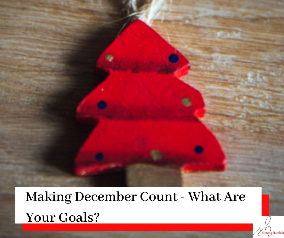 Christmas Tree Ornament with Making December Count - What Are Your Goals, written on it