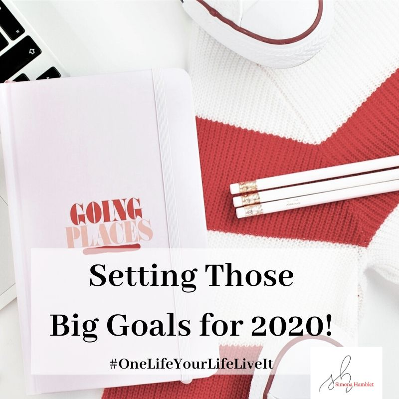 Pencils and journal with Going Places written on it, and title Setting Those Big Goals for 2020