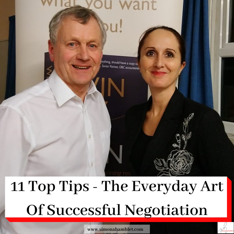 Photo of Derek Arden and Simona Hamblet with the title 11 Top Tips - The Everyday Art of Successful Negotiation