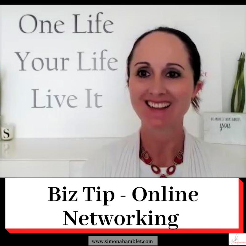 Image of Simona Hamblet with title - Biz Tip - Online Networking