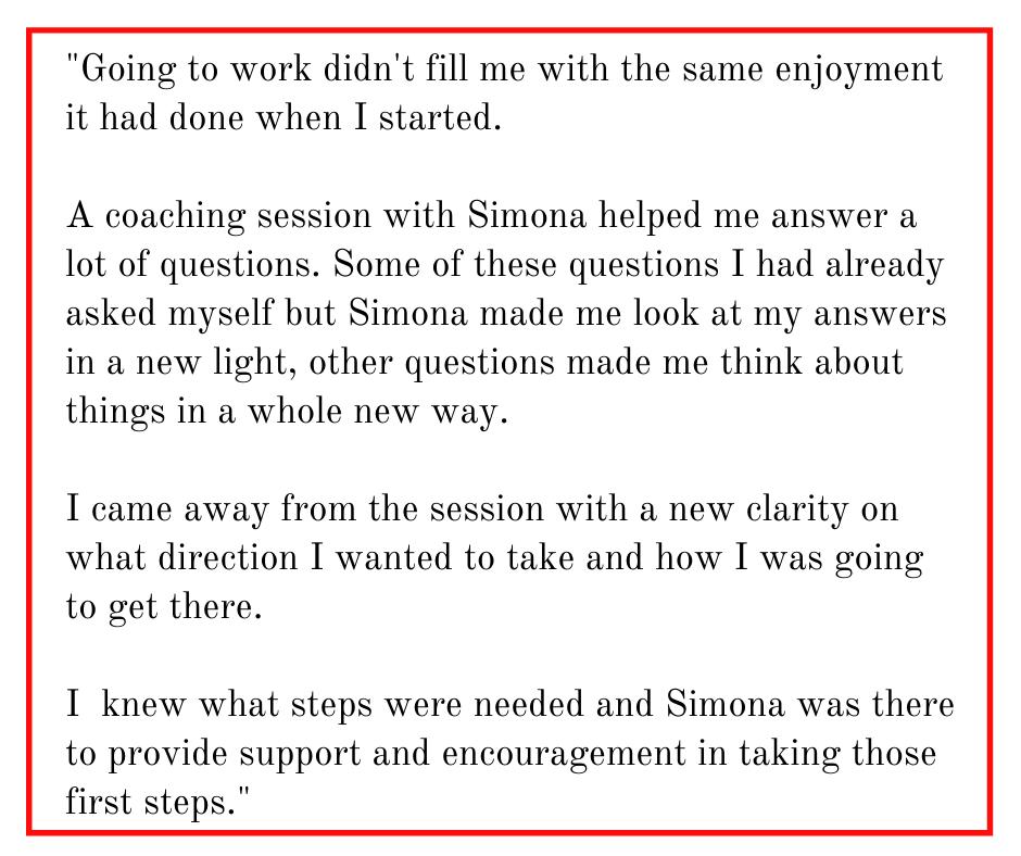 Career Coaching Testimonial for Simona Hamblet