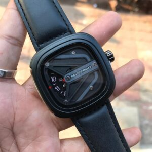 7FRIDAY Analogue Black Matrix Square Dial Black Leather Strap Boy's Wrist Watch