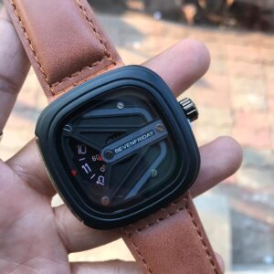 7FRIDAY Analogue Black Matrix Square Dial Light Brown Leather Strap Boy's Wrist Watch