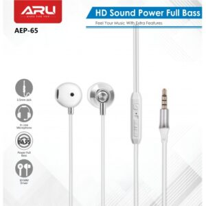 ARU AEP-65 High Bass Universal in Ear Earphone with Mic – White