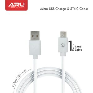 ARU ARA-11 1Mtr, 2.4Amp PVC Micro USB Charge & Sync Cable-White