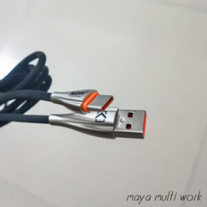 KDM DC4 1200MM 3.4A Type-C USB  Metal Cable (Black color)