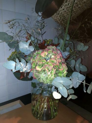 Centro flores verdes