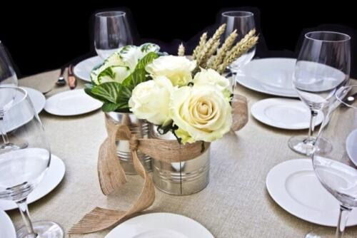 Centro mesa rosas blancas