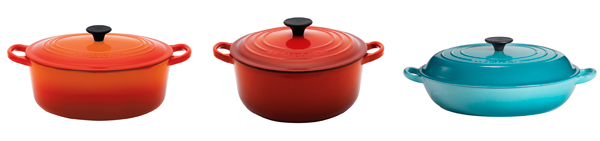 Oval, round and shallow casserole dishes from Le Creuset