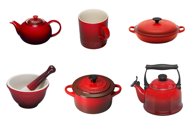 Red Cerise Le Creuset cookware at Philip Morris and Son