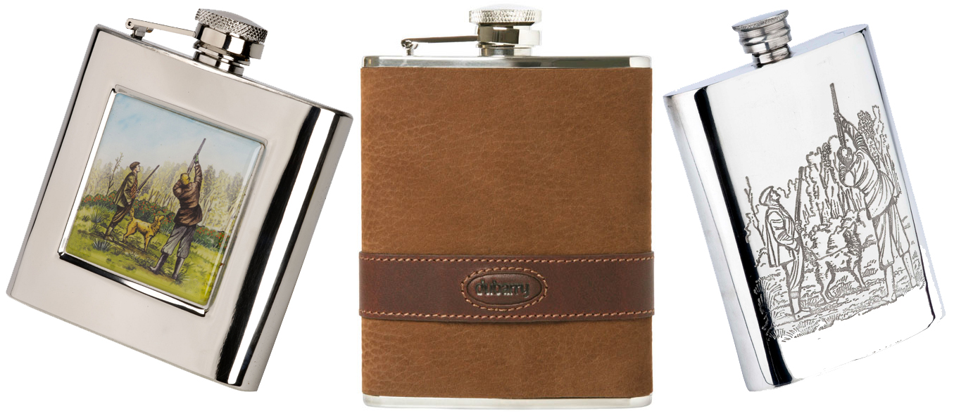 Hip Flasks from Pinder Bros, Dubarry & Marlborough as a great Christmas Gift