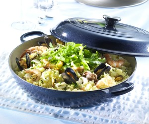 Seafood Risotto made in a Le Creuset Cast Iron Shallow Casserole