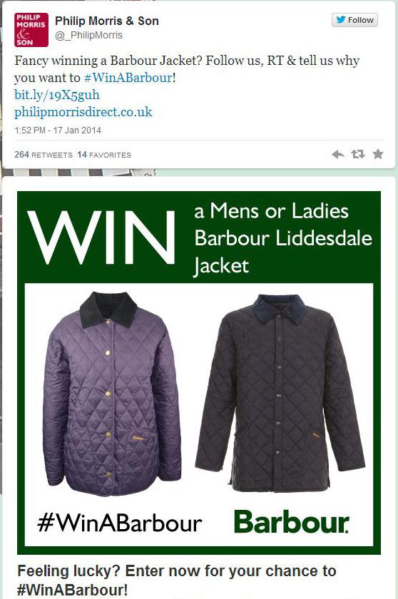 Screenshot of our Twitter Win A Barbour Competition - Click to view in full.