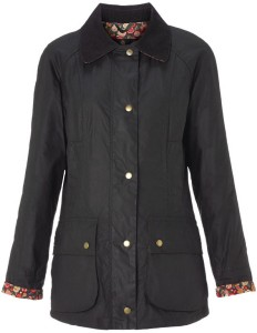 Barbour Hope Beadnell Wax Jacket in Olive and May Fair