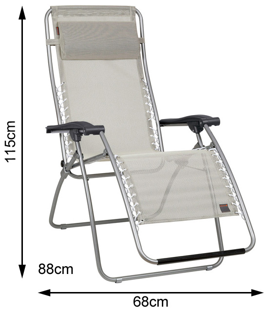 Measurements of an open Lafuma RSXA Recliner