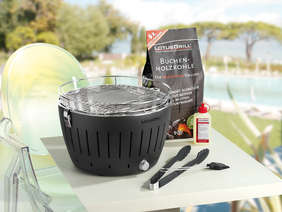Black LotusGrill BBQ with accessories