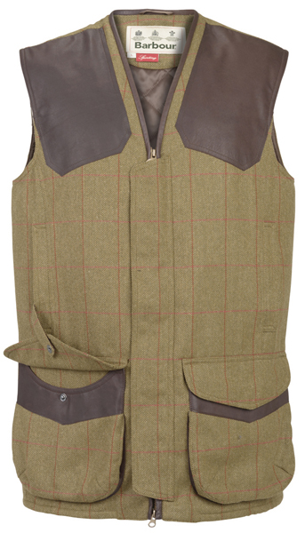 Barbour Fellmoor Tweed Waistcoat in Herringbone Red