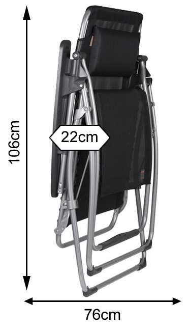Measurements of a folded Lafuma Futura XL Recliner