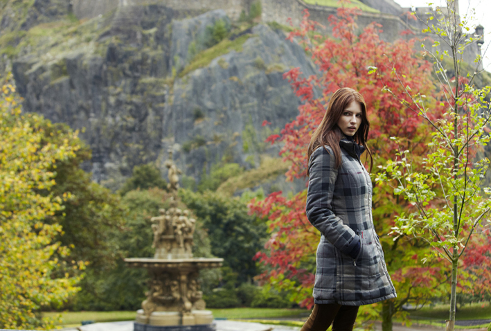 Winter Tartan Collection - Model wearing the Barbour Stonehaven Quilt