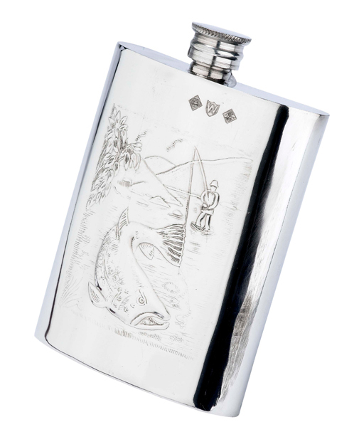 Pinder Bros 6oz Hip Flask stamped with fishing design detail