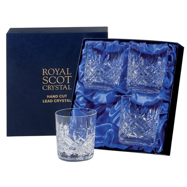 Royal Scot Crystal London hand cut crystal glass Tumblers in a luxury presentation box