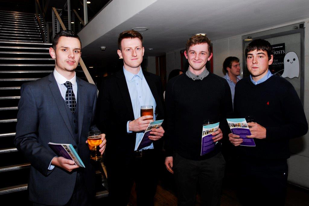 Alex Hunt, Gregory Forrest (Customer Service Manager), Matthew Jarvis and Craig Atril (Warehouse Manager) at the Hereford Apprentice Awards Evening 2014