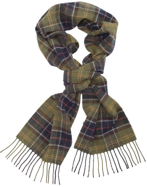 Barbour Tartan Lambswool Scarf as a great Christmas gift for him from Philip Morris and Son