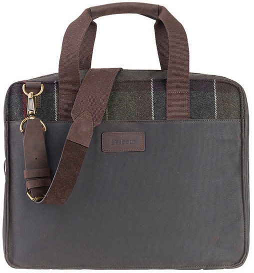 Barbour Tartan Slim Laptop Bag as a great Christmas gift for him from Philip Morris and Son
