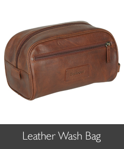 Barbour Leather Wash Bag available at Philip Morris and Son