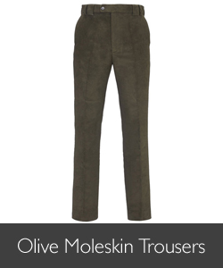 Barbour Men's Olive Moleskin Trousers available at Philip Morris and Son