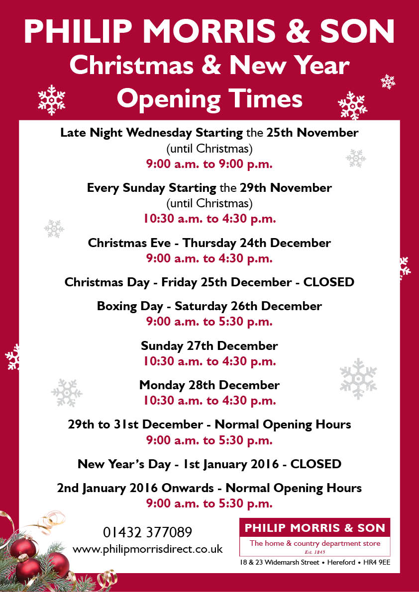 Philip Morris & Son Christmas Opening Time 2015
